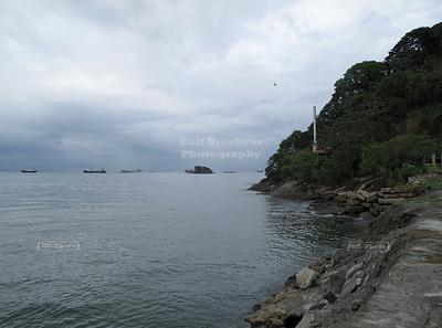 Amador Causweay, Flamenco Island, Panama City, Panama; Ships lining up at the Pacific entrance of the Panama Canal