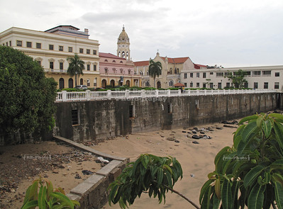 View over the old Panama City (Casco Viejo) with some cells of the ancient dungeon (Las Bóvedas) as seen from Plaza de Francia
