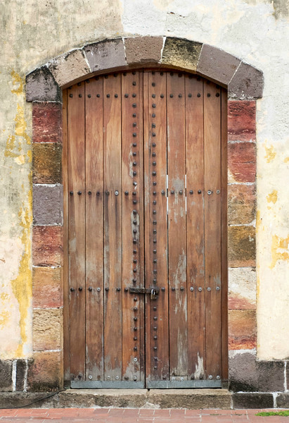 A door from Casco Antiquo, the old quarter of Panama City. The district is going through a major renovation where the facades are maintained but the insides are updated.