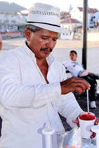 Shaved ice vendor in the old quarters of Panama City, Panama