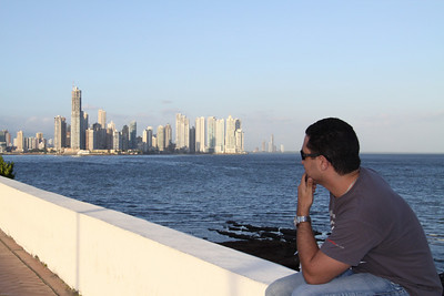Javier.  Panama City skyline from the old quarters.