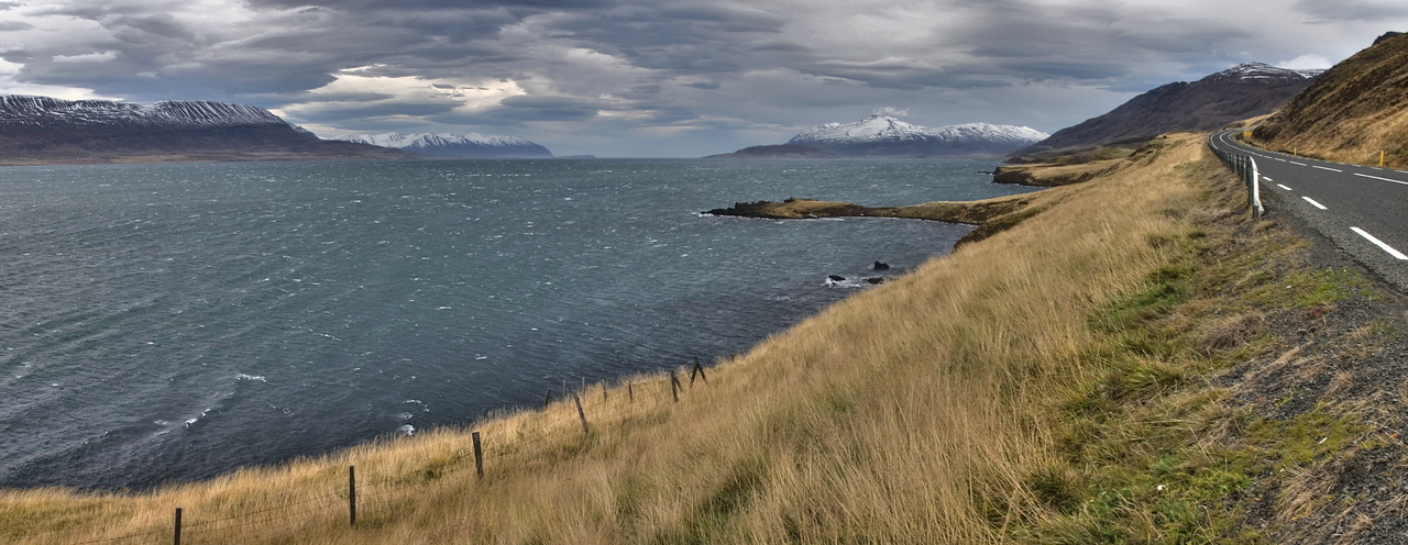 Eyjafjordur near Akureyri, which is the longest fjord in central northern Iceland.