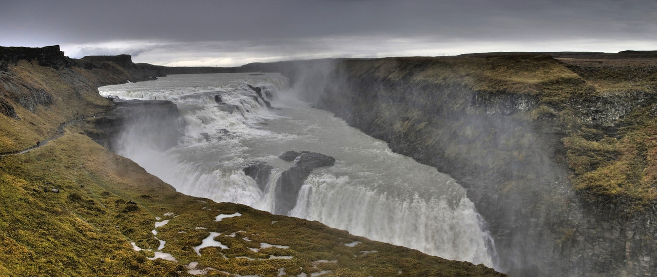 Gullfoss, means Golden Falls, in the canyon of Hvita river