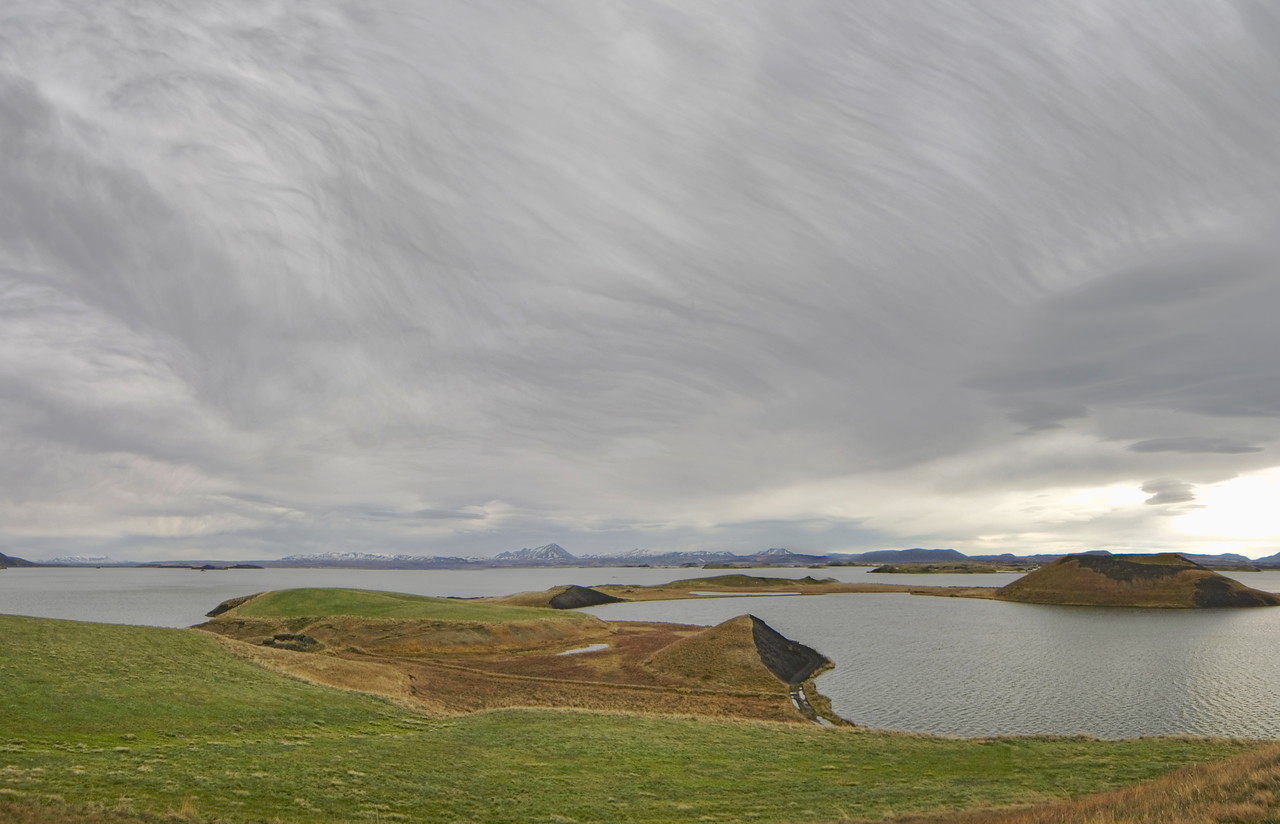 """Lake Myvatn and """"combed"""" clouds"""