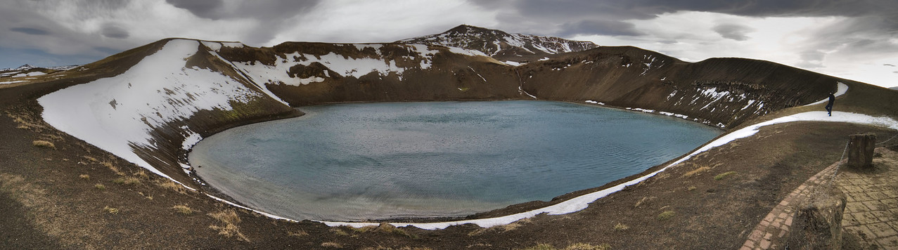 Krafla volcano, which erupted in 1984 for the last time, has a lake inside the caldera these days.