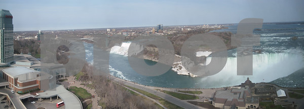 10 image panorama from our hotel room window. It was shot with a Canon Powershot SD950.