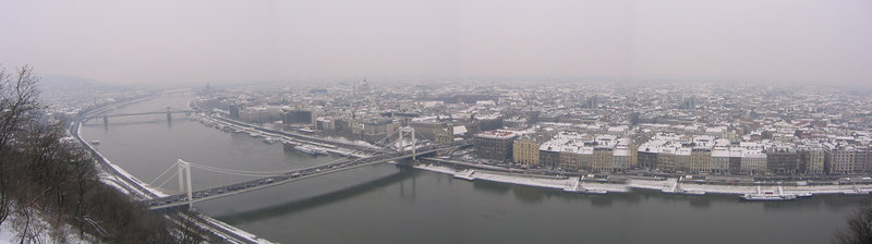 View of Danube and 'Pest' taken from top of 'Buda' - Budapest Hungary (March 2005)