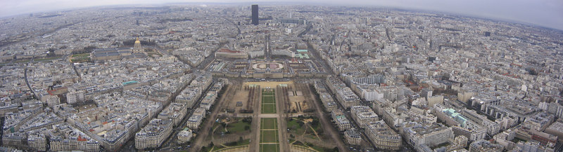 View of Paris City taken from Eiffel Tower - France (March 2005)