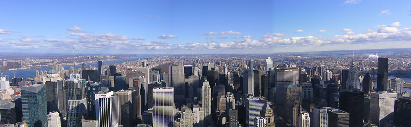 View from top of Empire State Building looking North to Central Park - New York City (Nov 2004)