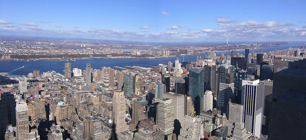 View from top of Empire State Building looking west to the Hudson River - New York City (Nov 2004)