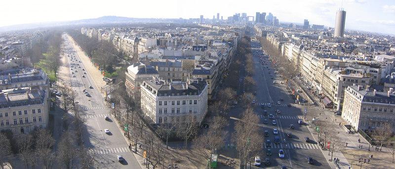 View from Arc de Triumph - Paris France (March 2005)