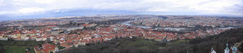 View of Prague taken from 'Mini Eiffel Tower' - Czech Republic (Dec 2004)