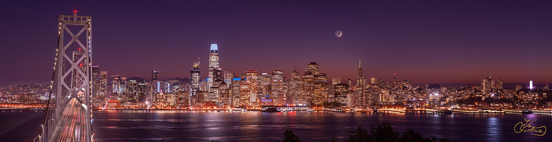 Moon Set behind San Francisco skyline , 2019