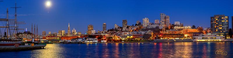 Full Moon overAquatic Park, San Francisco
