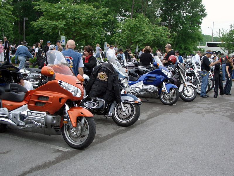 Getting ready to ride to Whitwell.  Rain was threatening, so most put on rain gear.
