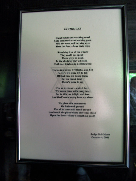Inside the box car.  This poem was real aloud to the group, at the Chattanooga JCC, prior to our ride to Whitwell.