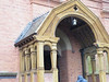 The main entrance to the engine house. This is the official entrance to the Engine House and was reserved for VIP's and board members of the Nottingham Corporation Water Department. It is very nicely designed with two-tone terracotta brickwork and finely carved wooden canopy.