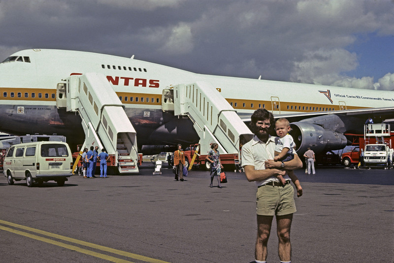 Leaving from Australia for Port Moresby (Karl with one year old Matthew)
