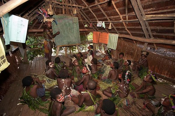 Inside the classroom at Yimas #2 Village