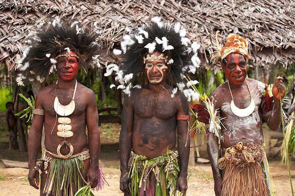 Portrait of men in traditional sing sing attire
