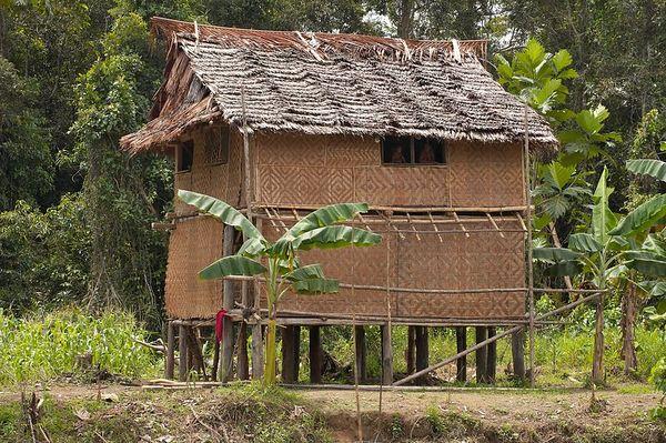 A 2-story house, rare in the Karawari area