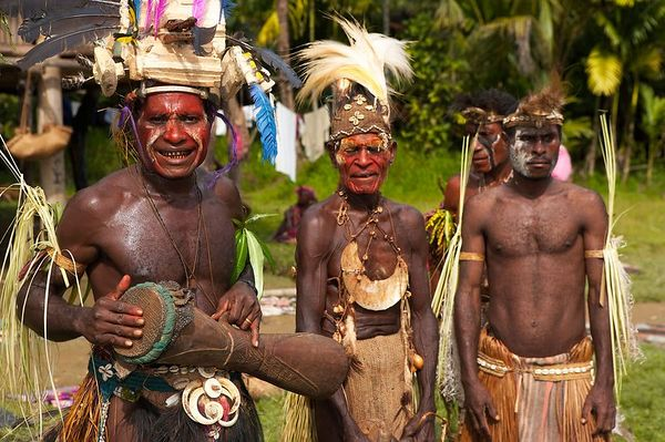 Villagers, dressed up for the fish dance