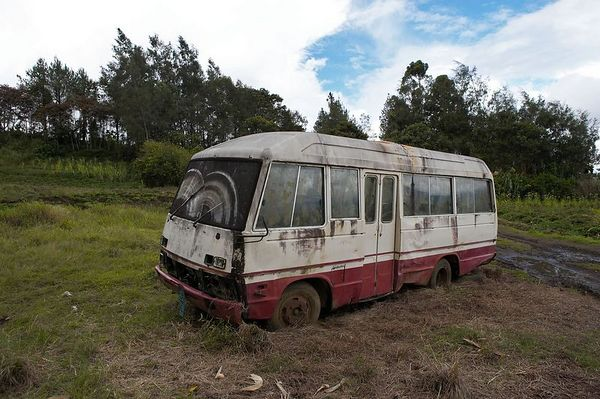 An old, abandoned bus