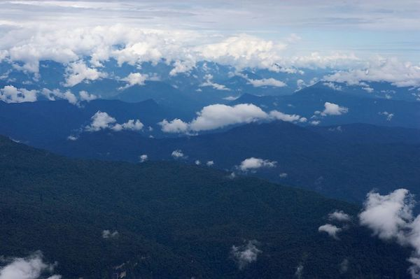 Aerial view of the Papua New Guinea highlands