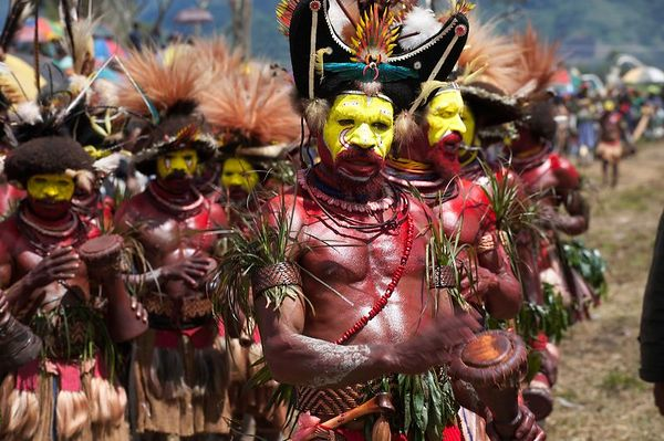 The proud Huli sing sing group