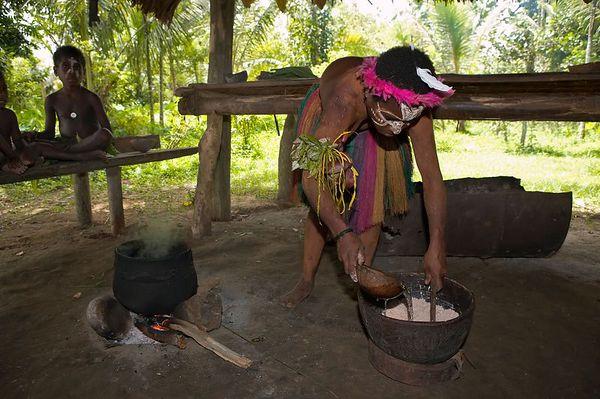 Sago-making demonstration. Sago flour is used to make a porridge.