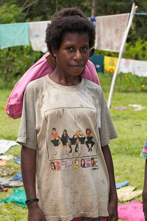 A girl in a Spice Girls t-shirt