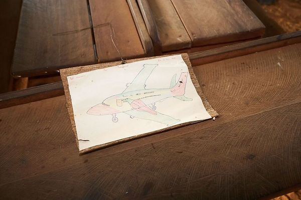 A drawing of an airplane, by a student