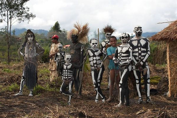 At the far corner of the preparation area (South Chimbu performers)
