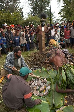 Locals demonstrate a Mumu, where a pig and veggies are steamed in an underground pit