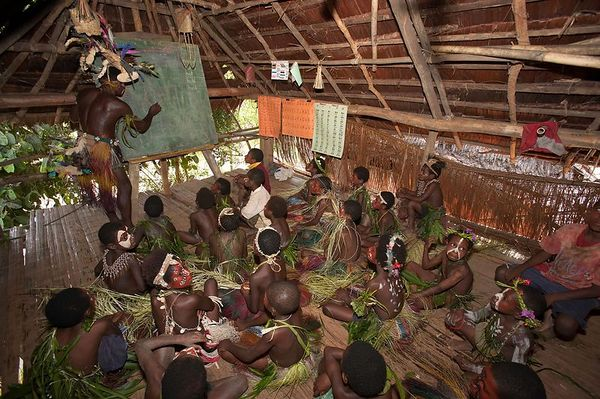 Inside the classroom at Yimas #2 Village