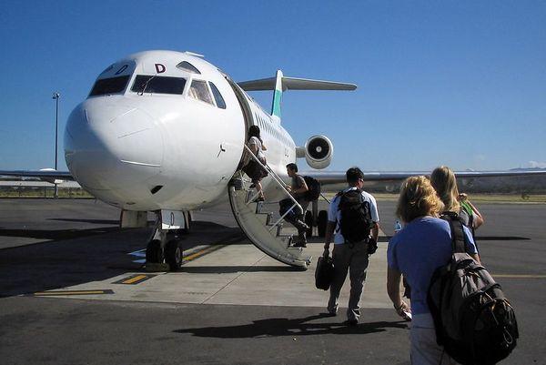Boarding the Air Niugini flight to Kavieng
