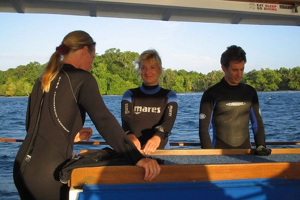 Denise, Anita, and David, on the dive deck