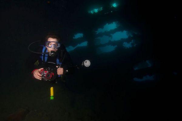Dave Patchen inside the San-Ko Maru