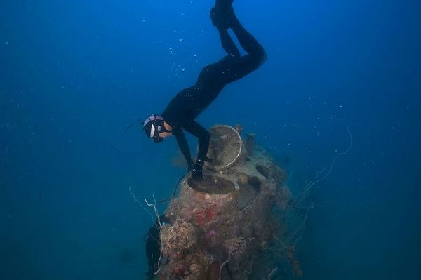 Eric Cheng horses around on the old Japanese submarine