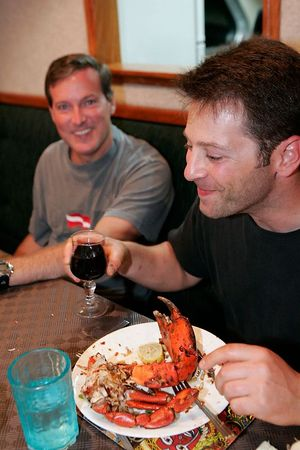 Dave and Doug enjoy a crab and wine dinner