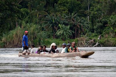 Locals cruising the Sepik River