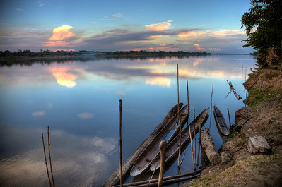 Near sunset along the Sepik River along with the local canoes