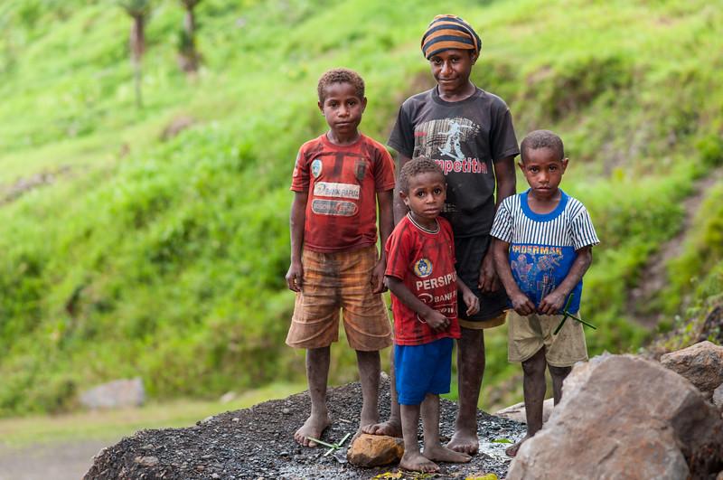 Village kids at Okbap, Star Mountains, Papua, Indonesia, January 2010. [Papua Okbap 2010-01 073 StarMtns-Indonesia]