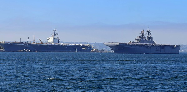 Parade starts with USS America LHA-6 passing the Roosevelt