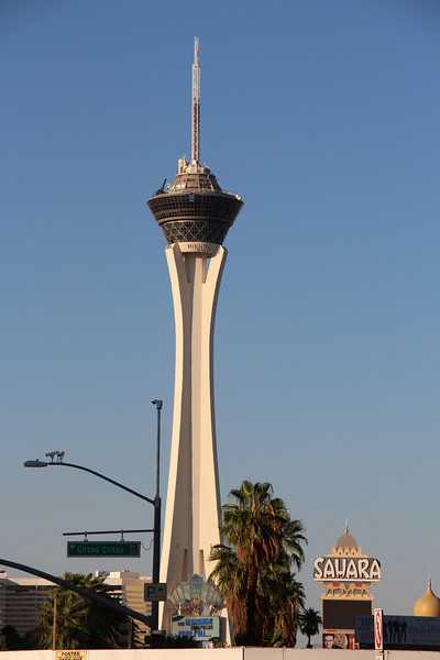 Stratosphere hotel and sign from old Sahara hotel