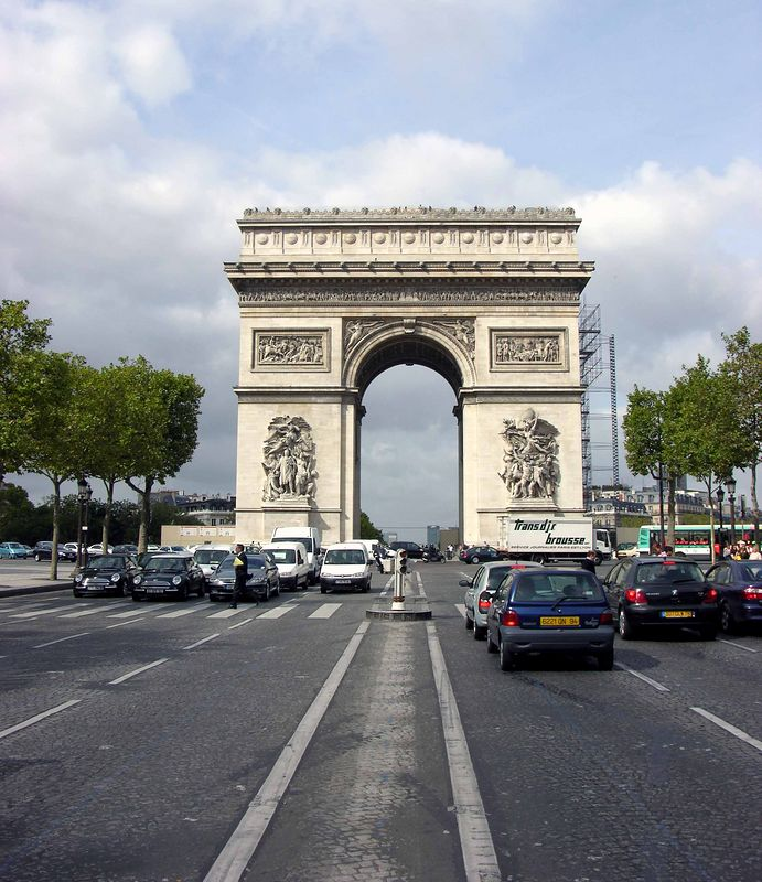 View of Arc de Triomphe from Champs-Elysees