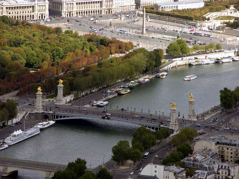 View of Pont Alexander from top of Eiffel Tower
