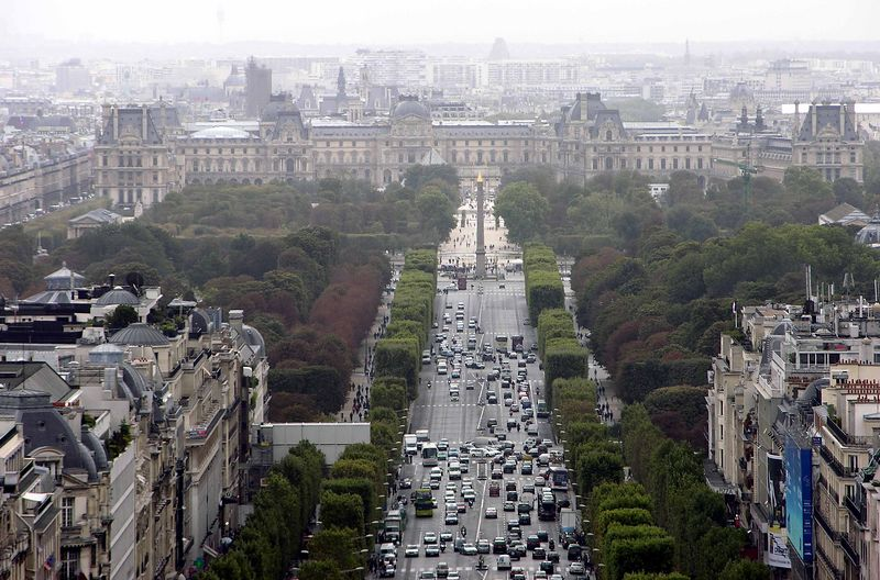 View of Hôtel de Ville and Champs-Elysees from Arc de Triomphe