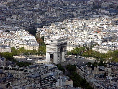 View of Arc De Triumph from top of Eiffel Tower