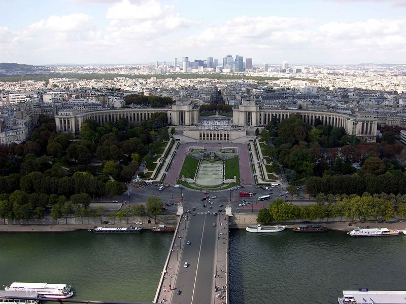 View of Place du Trocadéro from Eiffel Tower's 2nd level
